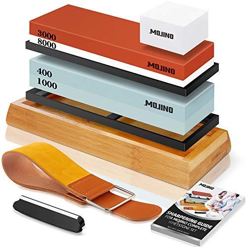 MOJINO Kit de Piedra de Afilar Cuchillos Afilador de Cuchillo Profesional 400/1000...