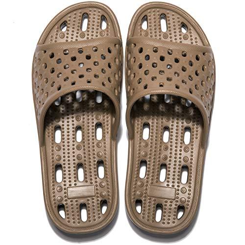Zapatillas de Ducha para Mujeres Antideslizantes Chanclas y Sandalias de Piscina Sandalias de Baño, Marrón,38 EU