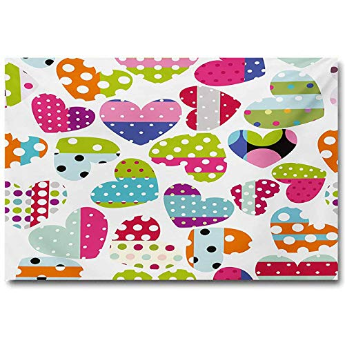 jiyanling Colorful Mural Wall Art Heart Shapes with Patches and Polka...
