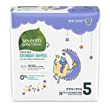 Seventh Generation Baby Free & Clear Overnight Diapers, Stage 5, 27-35lbs, 80 Count (Packaging May Vary)