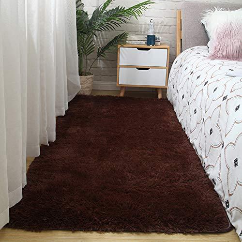 JYMDH Plüsch Teppich,Samt Lange Haare Zottelig Teppich,Anti-schlittern Stain Fade Resistant Leicht Zu Reinigen Teppiche,Für Wohnzimmer Schlafzimmer Kindergarten Teppich-Braun 80x160cm