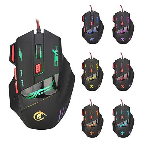 YOKING - Ratón de juego con cable USB, 5500 DPI, ratón óptico LED de 7 botones, para jugadores PC Pro