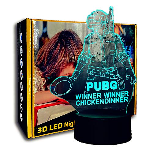 KangYD 3D Night Light Battle Winner, Lámpara de escritorio LED Illusion, Decoración del hogar, Novedad, Touch LED, Lámpara de escritorio, C - Touch Crack Blanco (7 colores)