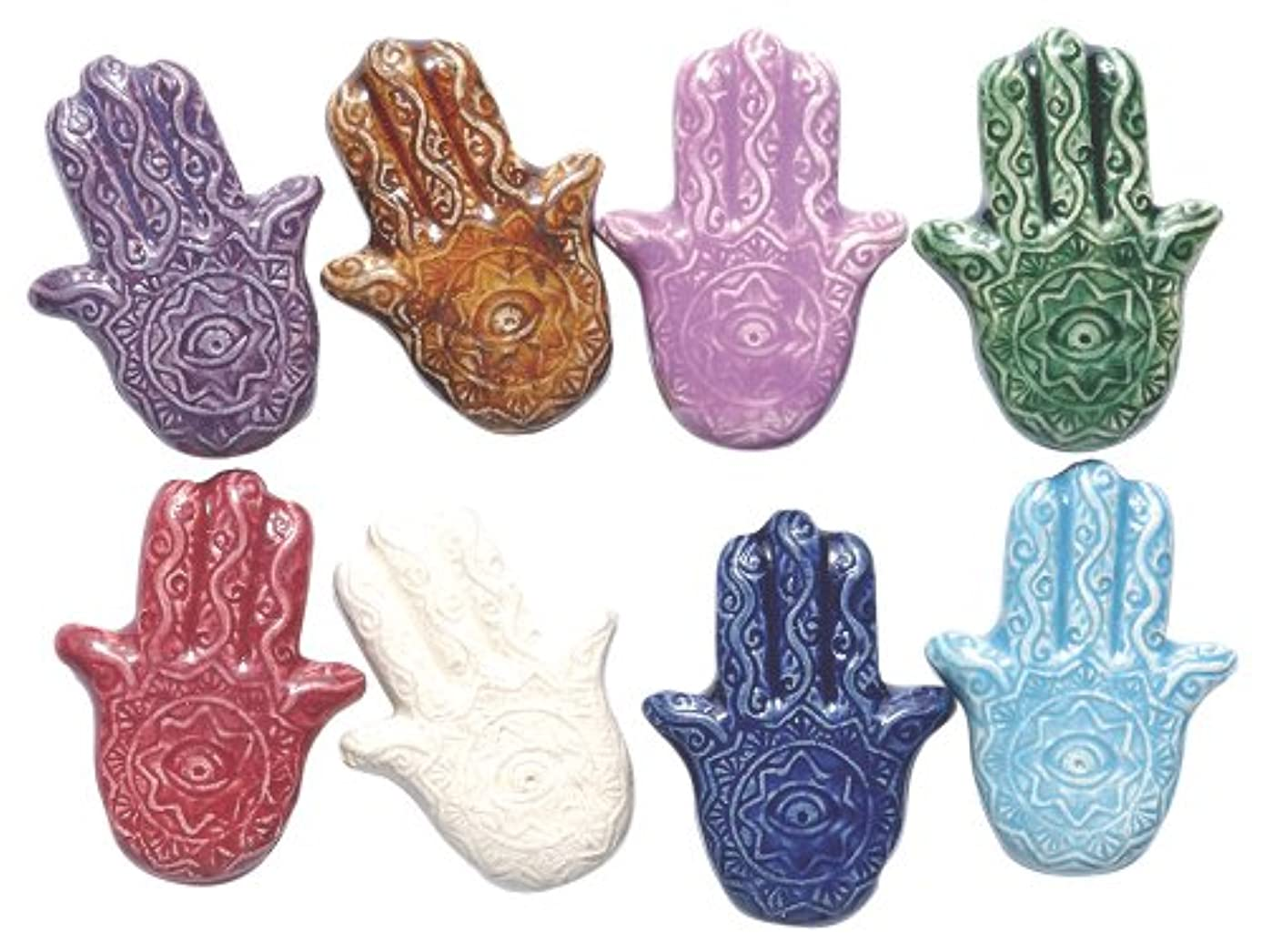 Shipwreck Beads 29mm Peruvian Hand Crafted Ceramic Hamsa Hand Beads, Assorted Color, 10 per Pack