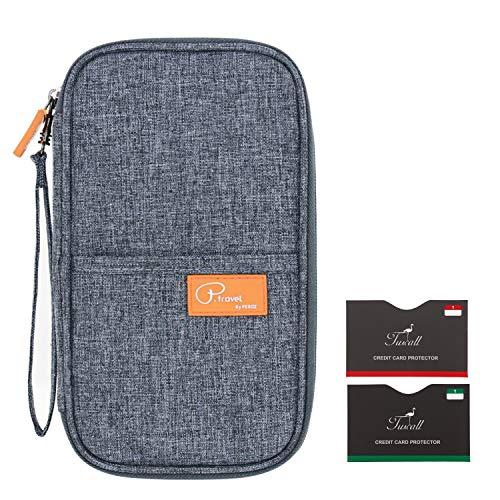 Tuscall Reiseorganizer Mappe Passport Brieftasche Reisedokumente Abdeckung Kreditkarten Halter Bargeldvorrat Veranstalter Aufbewahrungstasche mit Reißverschluss-Fächern (Grau)