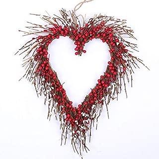 idyllic Heart Wreath Handmade Red Berry Heart Shaped Wreath Rustic Twig for Door Decorative Classic Indoor Decor 18 Inches Valentine's Wreath