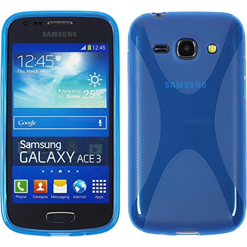 PhoneNatic Case kompatibel mit Samsung Galaxy Ace 3 - blau Silikon Hülle X-Style + 2 Schutzfolien