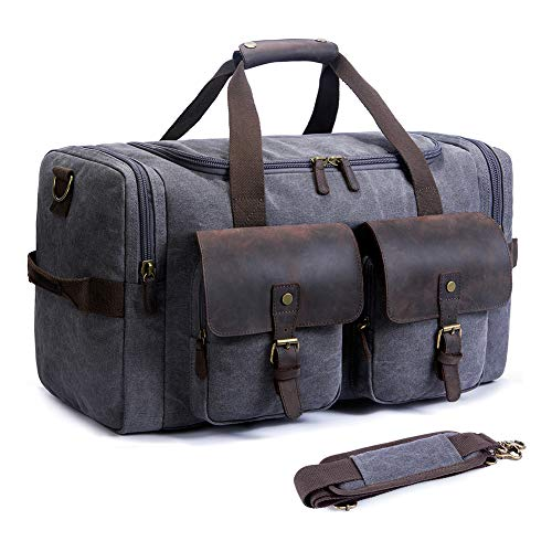SUVOM Leather Canvas Duffle Bag Weekend Overnight Bag Travel Tote Duffel Luggage...