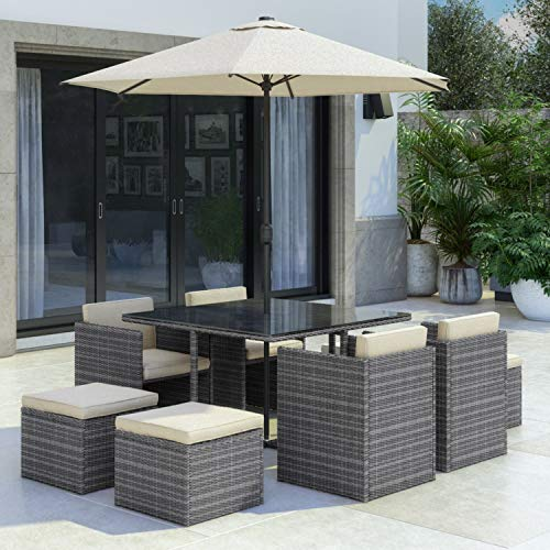 Fortrose 8 Seater Grey Rattan Cube Garden Dining Set - Parasol Included