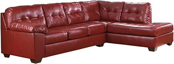 Ashley Furniture Signature Design - Alliston 2-Piece Sectional - Left Arm Facing Sofa & Right Arm Facing Corner Chaise - Salsa Red