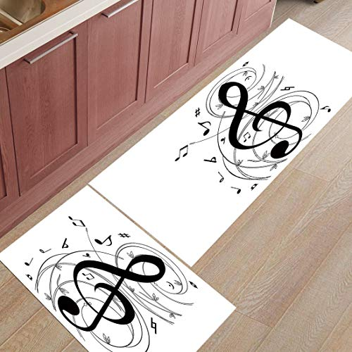 HLXX Octopus Music Notes Print Felpudos Alfombra de Puerta de Entrada Alfombra de baño Cocina Alfombra de Entrada Alfombrillas Blancas Antideslizantes A3 50x160cm