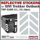 2pcs RIFRANGENTI ADESIVI сompatible con GIVI Baúl Trekker Outback Monokey 37 42 48 L, Aluminio Top Case (White 011)