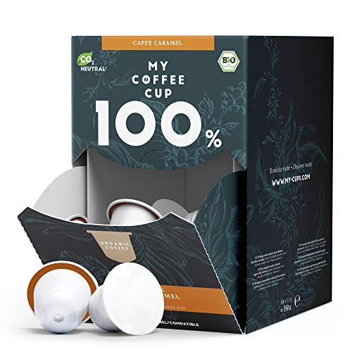 My Coffee Cup – MEGA BOX CAFFÈ CARAMEL – BIO-KAFFEE I 100 Kaffeekapseln für Nespresso®³-Kapselmaschinen I 100% industriell kompostierbare Kaffeekapseln – 0% Alu I Nachhaltige Kaffeekapseln