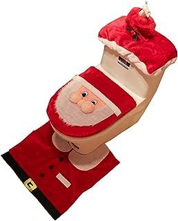 xiangliood 3pcs Santa Toilet Seat Cover Rug Set Red Christmas Decoration Décor Bathroom