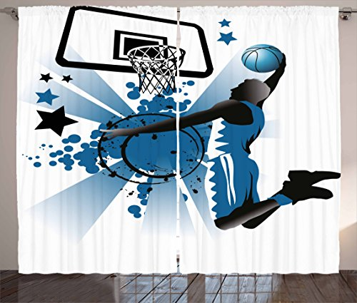 Ambesonne Teen Room Curtains, Silhouette of Basketball Player Jumping Success Stars Illustration, Living Room Bedroom Window Drapes 2 Panel Set, 108
