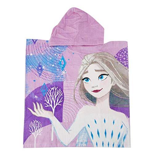 Frozen Movie Disney – Poncho albornoz playa piscina con capucha – Algodón – Elsa y Anna – Niña – Producto original violeta Talla única