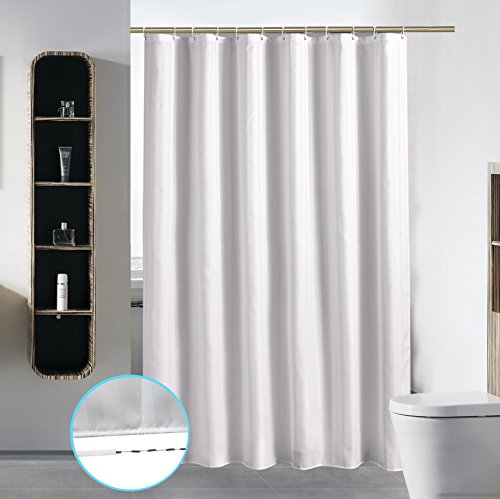 S·Lattye Bathroom Shower Curtain Liner Washable Fabric Waterproof Polyester (Hotel Quality Friendly Damask Stripe Cortinas Baño) & Heavy Duty Plastic Hooks Set - Standard 72 x 72, White