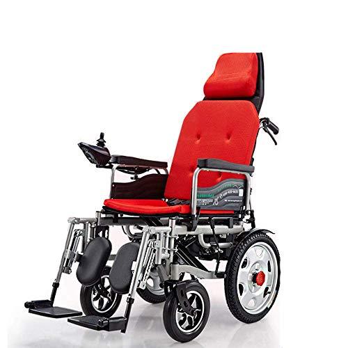 WANGYONGQI Silla Ligera Plegable Silla de Ruedas, con Respaldo reclinable y Doble y Potente Motor de Transporte portátil para Movilidad para discapacitados y Ancianos