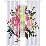 YUAZHOQI cortinas oscurecedoras rosa melocotón acuarela floral marco peonías rosas hojas aisladas sobre fondo blanco 52 pulgadas x 241 pulgadas cortinas para sala de estar