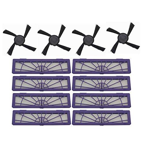 Raogoodcx 8 filtre HEPA + 4 Brosses Latérales accessoire de Kits pour Neato Botvac 70e 75 80 85 D75 D80 D85 Série robot aspirateur robot