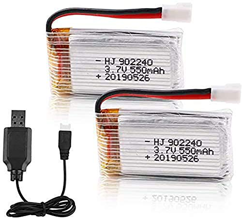 MakerFun 2pcs 3.7V 550mAh 25C Lipo Battery XH2.54 Connector with USB Charger for RC Quadcopter Drone