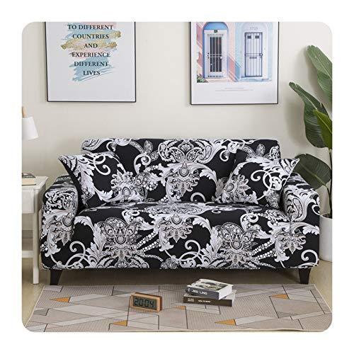 ZaHome Fundas elásticas para sofá de 1/2/3/4, para sala de estar, en forma de L, de poliéster y elastano, lavables para muebles, modelo 2-145-185 cm