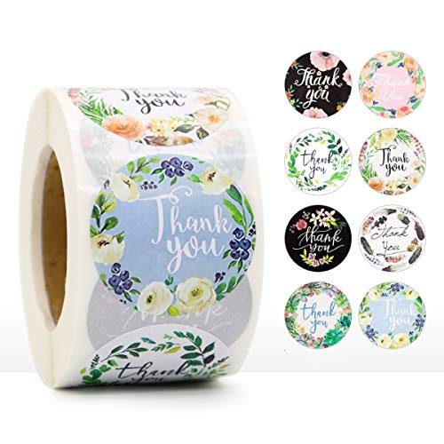 """CICITOTO 1.5"""" Floral Thank You Stickers Roll Round Labels for Wedding Baby Shower Graduation Birthdays Business Gift Bags Labels Roll 8 Designs(1 Roll, 500 Stickers)"""