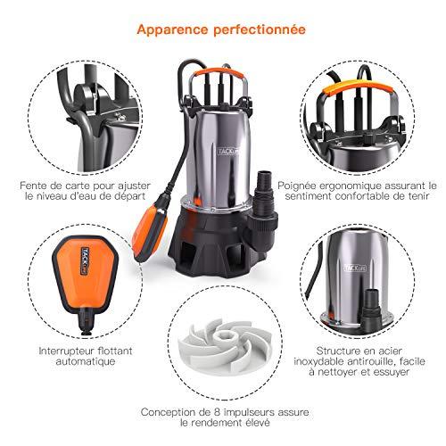 TACKLIFE Pompe pour Eaux en Acier Inoxyable, Pompe Vide-Cave 1000W, Max. 20000 l/h, 9m Hauteur de Refoulement, 7m Profondeur d'immersion, Max. 35mm Granule -GSUP2C