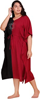 Lastinch Women's Color Block Embroidered Kaftan Dress