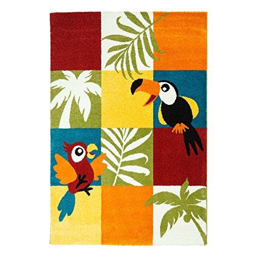 Kindertapijt speeltapijt vlakke polen laagpolige dier-design Tucan vogel papegaai zacht bont kinderkamer maat 80/150 cm