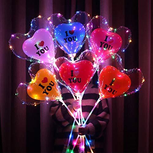 Preisvergleich Produktbild Leezo Leuchtende Led Ballon 3 Meter LED Streifen Lichter Batteriebetriebene Herzform Runde Blase Ballons Kinder Spielzeug für Hochzeit Bar Yard Dekoration Geschäftsgeschenk Nachtbeleuchtung