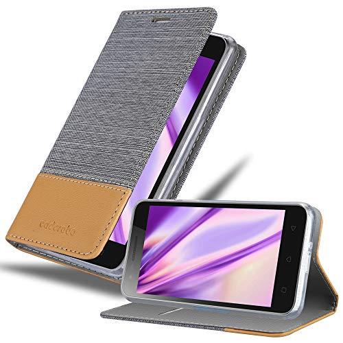 Cadorabo Hülle für Lenovo C2 in HELL GRAU BRAUN - Handyhülle mit Magnetverschluss, Standfunktion & Kartenfach - Hülle Cover Schutzhülle Etui Tasche Book Klapp Style
