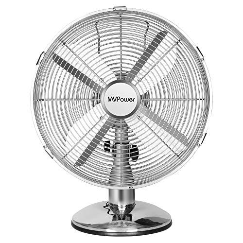 MVPower Ventilateur de Table, 3 Vitesses, 34.5cm Diamètre, Oscillation 75 °, Inclinaison Réglable 10 °, 4 Pales, Ventilateur Bureau 30 W, Finition Chromée