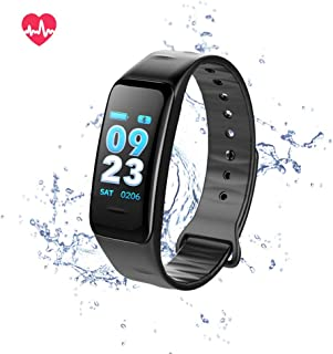 YUNZE Fitness Tracker Smart Watch, Activity Tracker with Heart Rate Monitor, Waterproof Pedometer Watch with Sleep Monitor, Step Counter for Kids Women Men (Black)
