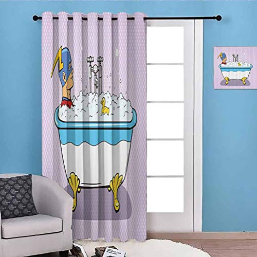 flymeeo 100' W x 84' L Comics Decor Full Light Blocking Drapes Privacy Assured Superhero Fast Furious Relaxing in Bubble Bath Shower with Rubber Duck Artwork Multicolor