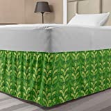 Lunarable Leaf Bed Skirt, Repetitive Fresh Spring Leaves Floral Nature Pattern, Elastic Bedskirt Dust Ruffle Wrap Around for Bedding Decor, Twin/Twin XL, Avocado Green Lime Green