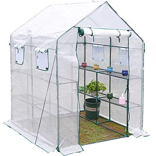 Serre De Plain-pied Couverture En Tissu PE Jardin Plantes Succulentes Fleurs Résistant Au Froid Abri D'isolation (Color : White, Size : 143x143x195cm)