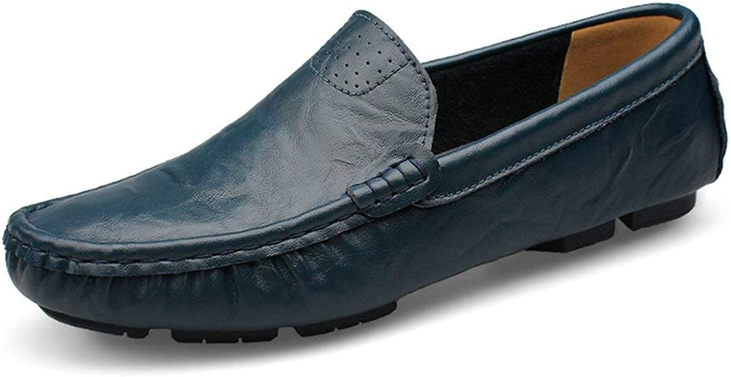 ZHRUI Boy's Men's Breathable Popular Moccasins Casual Penny Loafers (color   Dark bluee, Size   10 UK)