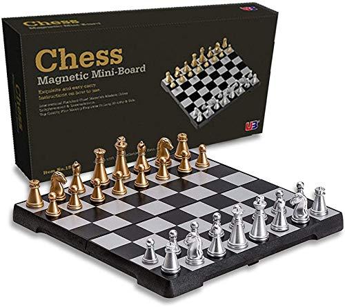 Hwljxn Juego de ajedrez de viaje magnético, tablero de ajedrez plegable Juguete educativo Juego de mesa de madera Juego de ajedrez magnético Hecho a mano de ajedrez de ajedrez Juegos de mesa internaci
