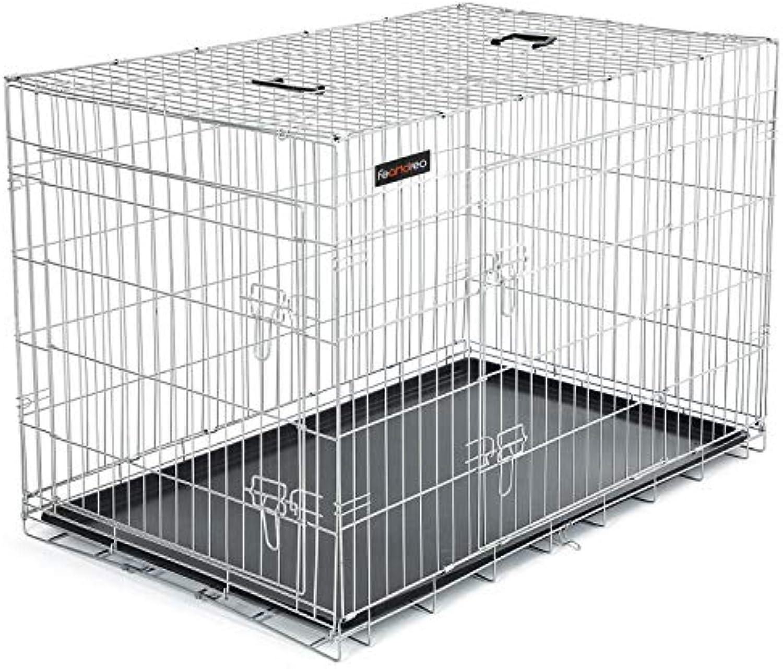 FEANDREA HundeKfig 2 Türen faltbar Hundebox Gitterbox TransportKfig DrahtKfig Katzen Hasen Nager Kaninchen Geflügel Kfig L - XXXL