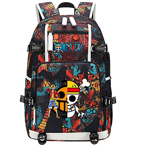ZZGOO-LL One Piece Monkey·D·Luffy/Trafalgar Law Anime Backpacks Student School Bag Laptop Backpack with USB Charging Port-C
