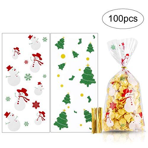 MELLIEX 100pcs Noël Sacs à Biscuits Bonbons Clair Auto-Adhésif Père Noël Sacs à Cadeaux de Rescellable pour La Fête d'Noël