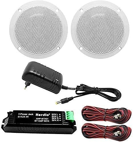Herdio Kit de Altavoces de Techo con Bluetooth, Amplificador Impermeable, Altavoz de Techo, para Cuarto de baño, Cocina, hogar, Exterior (Blanco)