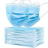 Disposable Face Mask 3 Ply, 50 PCS Safety Disposable Mask Dust with Nose Clip and Elastic Earloops, Protective Face Mask Breathable for Indoor Outdoor Home Office School Travel Shopping