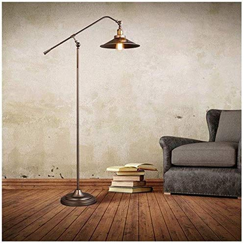 DXXWANG Floor Lamp Reading Decorative Lights,Style Simple Retro Industrial Style Swing Arm Arc Fishing Standing Lamp Adjustable