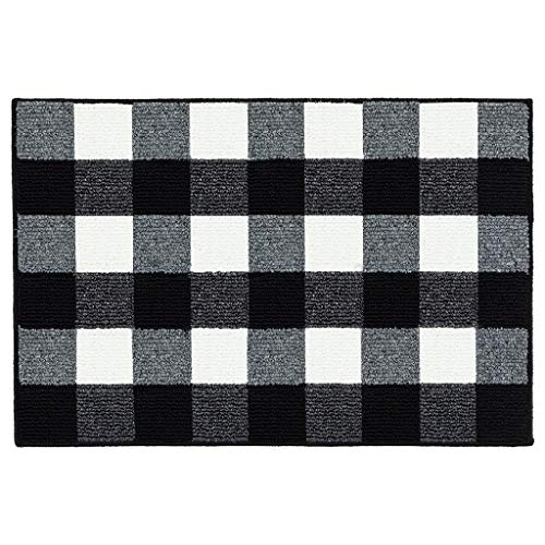 """Buffalo Plaid Check Rug Indoor Doormat Front Door Mat Non Slip Rubber Backing Super Absorbent Mud and Snow Magic Dirts Trapper Mats Machine Washable - Black/White, 24"""" x 36"""""""