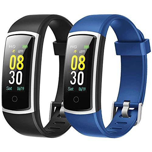 Flenco Ersatzarmband für ID128 Color HR/SW336 Fitness Tracker (schwarz + blau)