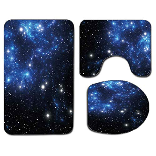 3Pcs Non-Slip Bathroom Rug Toilet Seat Lid Cover Set Constellation Soft Skidproof Bath Mat Outer Space Star Nebula Astral Cluster Astronomy Theme Galaxy Mystery,Blue Black White Absorbent Doormat Bedr