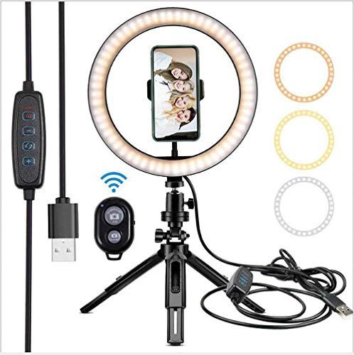 Hokaime 26 Pulgadas de Escritorio pequeño luz de Relleno, retráctil plástico del Soporte de Belleza con luz, Bluetooth Control Remoto, Apto para Anchor Selfie Fotografía Luz Vivo,26cm+ Hose clamp