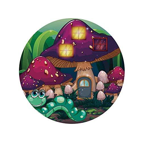 【33%OFF】キノコの装飾、キノコの家の近くの長いワームのイラスト架空のかわいい小さな生き物イメージ、マルチ円形ラグカーペット円120cmキノコの装飾ラグマット防ダニ抗菌防臭防音低反発おしゃ